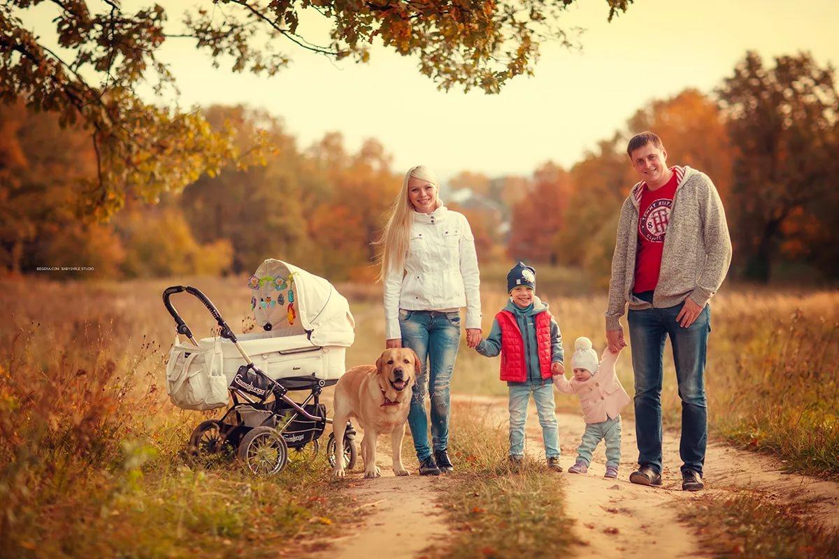 семейная прогулка с собакой