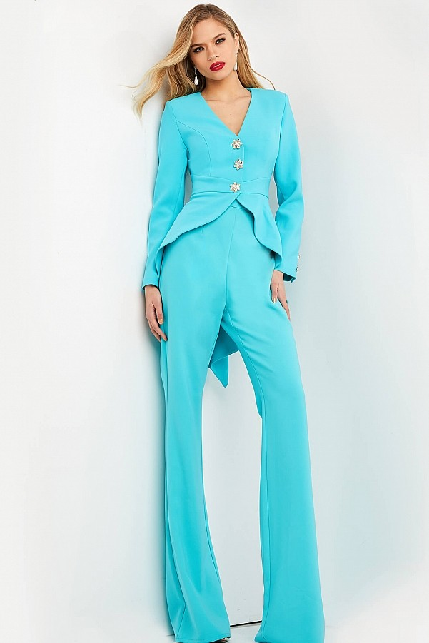 костюм голубой женский