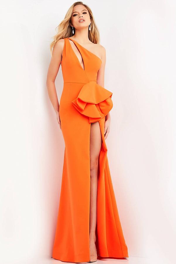 оранжевое платье длинное с бантом