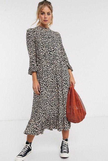 принт леопардовый платье